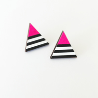 Geometric Neon Pink Triangle Stud Earrings