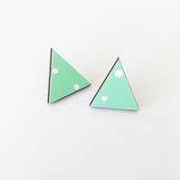 Geometric Mint Green Triangle Stud Earrings