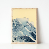 Mountain Print, Blue Wall Art - Avalanche