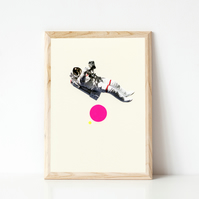 Astronaut Print, Space Art - Float
