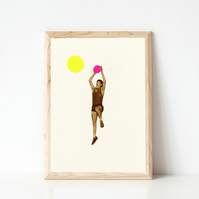 Vintage Sport Print, Basketball Art - Basketball