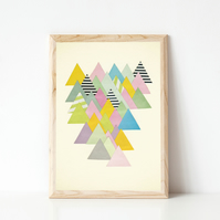 Abstract Mountain Print, Modern Landscape Art - French Alps