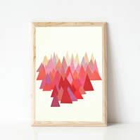 Mountain Print, Abstract Landscape Art, Geometric - Indian Summer