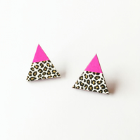 Geometric Neon Pink and Leopard Print Triangle Stud Earrings