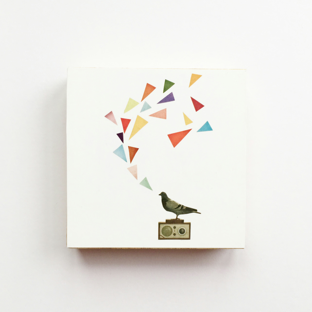 Bird Wood Art Block, Pigeon Art - Pigeon Radio