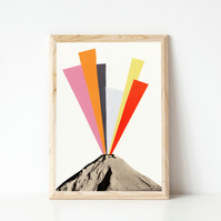 Volcano Print, Rainbow Art - Eruption