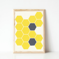 Modern Geometric Print - Yellow Honeycomb