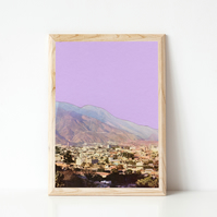 Mountain Print, Purple Wall Art - Lilac Skies
