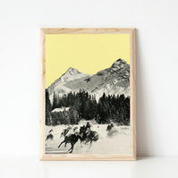 Mountain Print, Horse Racing Wall Art - Winter Races
