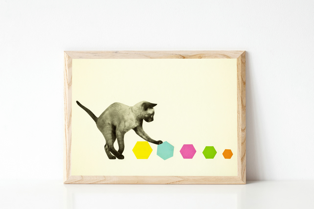 Cat Print, Animal Nursery Art - Kitty Cat