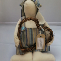 Beautiful calico bunny rabbit decoration - with a wicker heart wreath