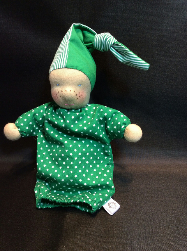 Waldorf style freckle faced doll, Christmas Elf style! REDUCED