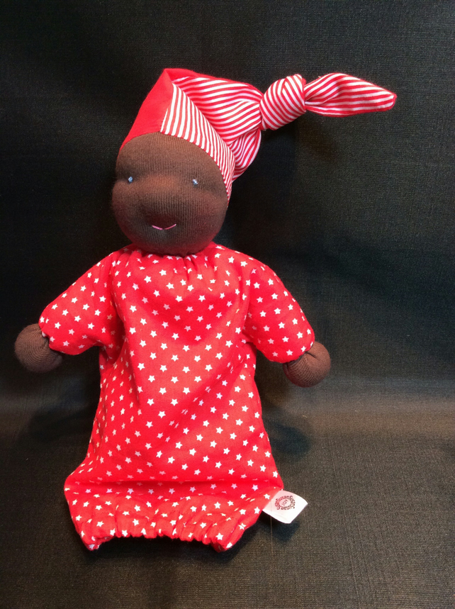 Waldorf styled doll, beautiful dark skin and dressed in red, CE marked