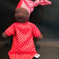 Waldorf styled doll, beautiful dark skin and dressed in red, REDUCED