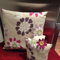 Matching cushion and doorstop, beautiful set, jute gift bag, REDUCED HALF PRICE