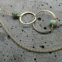 Geometric necklace Anahata, interlocking circles modern classic brass necklace