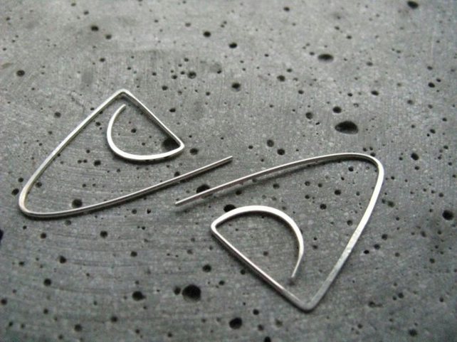 Neolithic . statement geometric earrings . minimalist  silver earrings