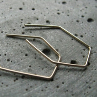 Small polygon .  goldfilled minimalist earrings . edgy geometric hoops