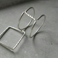 Square . simple silver ring . handmade geometric jewellery