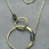 Ishtar . interlock circles necklace . lariat necklace blue Iolite . ajna chakra