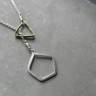 elements . interlocking triangle  pentagon minimalist silver necklace