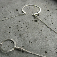 Moon phase . modern minimalist silver necklace .  circle crescent