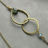 Woodland nymph. dainty necklace w green Tourmaline . interlock or lariat