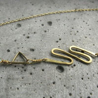 Kundalini .  neoclassical dainty necklace . serpent symbol .  golden brass
