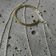 Sun disc .  modern minimalist silver necklace .  gold circle on silver chain