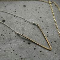 Shakti . minimalist geometric necklace .  triangle circle .  brass silver