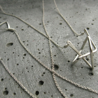 Star trihedron .  modern geometric necklace in silver .  sculptural pendant
