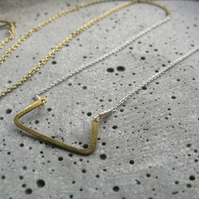 Plasma .  delicate minimalist necklace . rectangle serpent . mixed metal