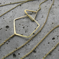 Polygon . long geometric necklace . delicate minimalist brass necklace