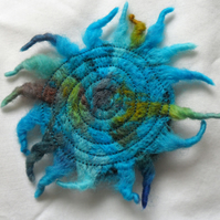 Turquoise Sunburst Needlefelt Brooch