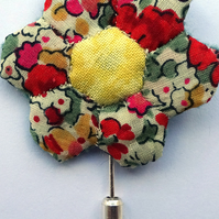 Red Liberty Print Flower Pin