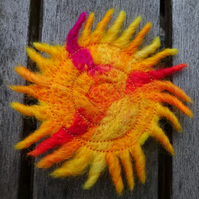 Yellow Sunburst Needle Felted Brooch