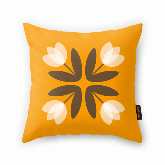 Tulips from Amsterdam Cushion in Mustard Yellow