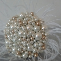Ivory and Gold Pearl Bouquet... Bridesmaid Bouquet...