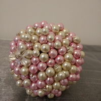 Mini Bead Bouquet... Flower Girl Wand.. Candy Pink and Ivory Pearl Bouquet...