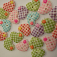 20 Cute Heart Shaped Buttons. 2 hole Buttons