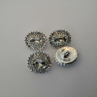 Gorgeous Rhinestone Buttons .Small Shank Buttons. Oval Buttons