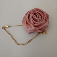 Men's Lapel Pin. Suit Pin. Satin Rose Lapel Pin. Stick Pin.