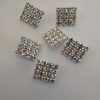 Rhinestone Buttons .Small Shank Buttons. Square Buttons