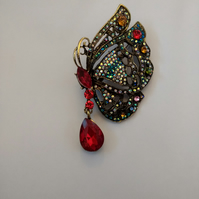 Pretty Red Stone Butterfly Brooch