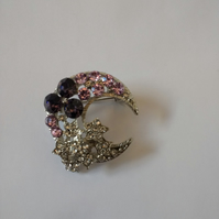 Pretty Moon and Stars Brooch