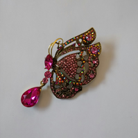 Pretty Pink Stone Butterfly Brooch