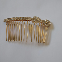 Simple Handmade Diamante Bow Hair comb.