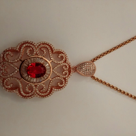 Beautiful Rose Gold Tone Micro Pave Pendant Necklace