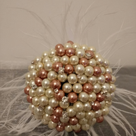 Wedding Bouquet. Mini Bead Bouquet... Flower Girl Wand.. Mini Pearl Bouquet...