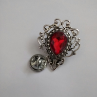 Red Stone Lapel Pin. Vintage Style Pin.